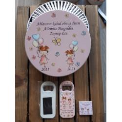 Balon Tutan Kız Çocuk Model Çikolata Ve Kutusu