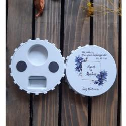 Mavi Çiçek Söz & Nişan & Nikah  Büyük Kapak Açacak Magnet