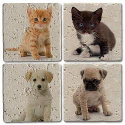 Doğal Taş Bardak Altlığı Kedi Köpek