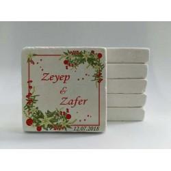 Kırmızı Beyaz çiçekli Doğal Taş magnet