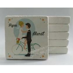 Bisikletli  Doğal Taş Magnet