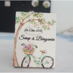 Çiçekli Bisiklet Doğal Taş Magnet