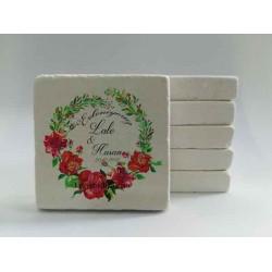 Kırmızı Çiçekler Doğal Taş Magnet