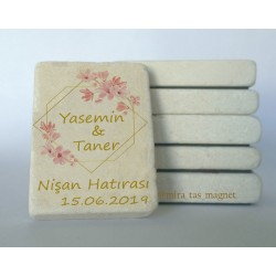 Pembe Çiçek Doğal Taş Magnet